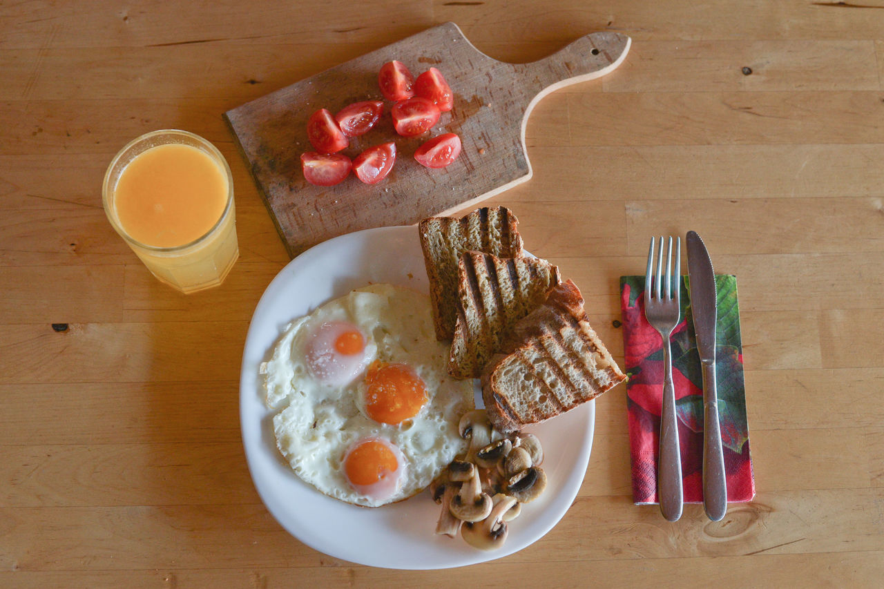 Bowl Break Breakfast Directly Above Drink Egg Eggs English Breakfast Food Food And Drink Fork Freshness Good Morning Healthy Eating High Angle View Indoors  Indulgence Plate Ready-to-eat Serving Size Still Life Sweet Food Table Variation Wood - Material