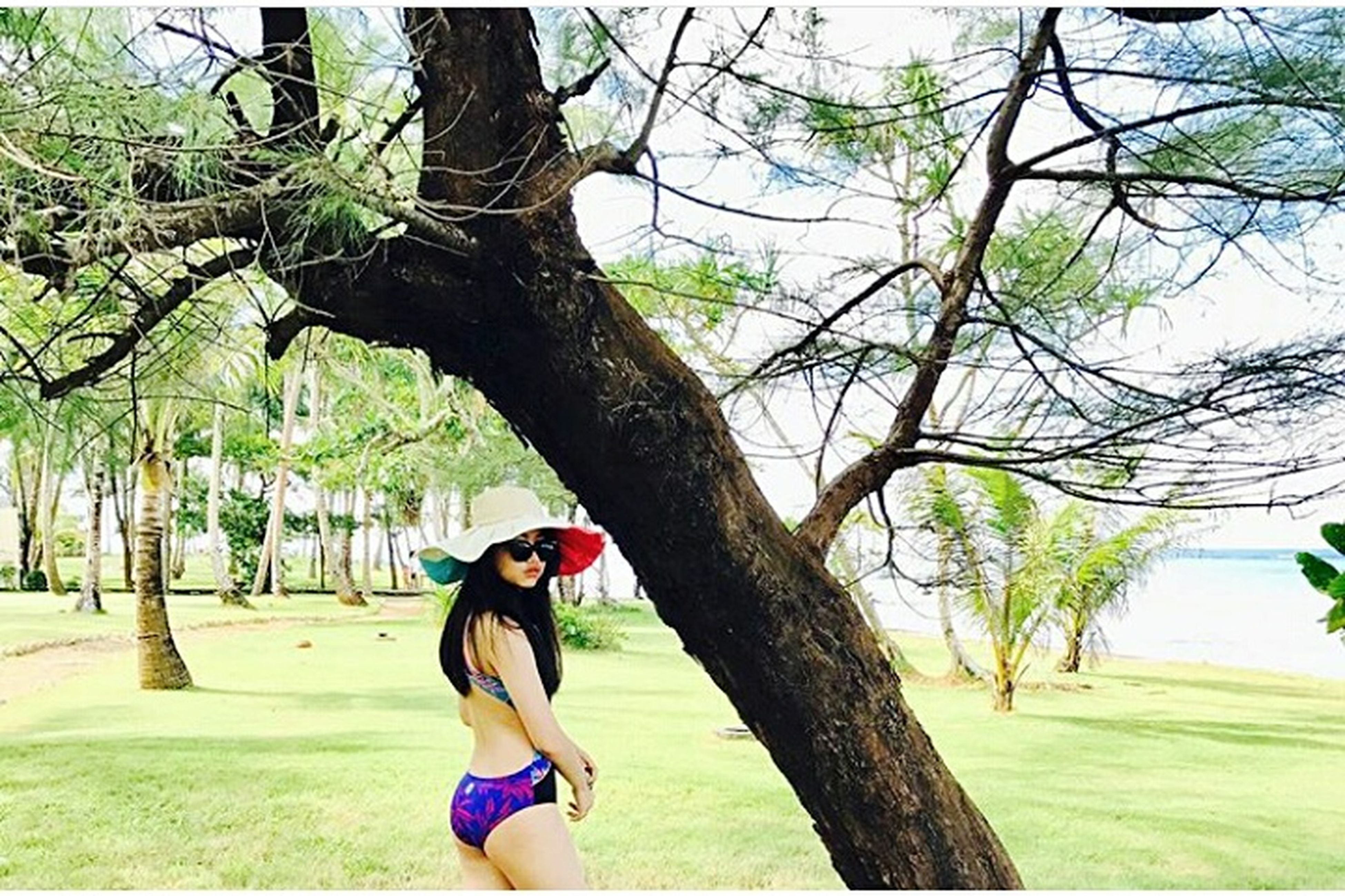 tree, tree trunk, one person, day, lifestyles, real people, nature, outdoors, leisure activity, branch, young women, young adult, grass, beauty in nature, sky, people