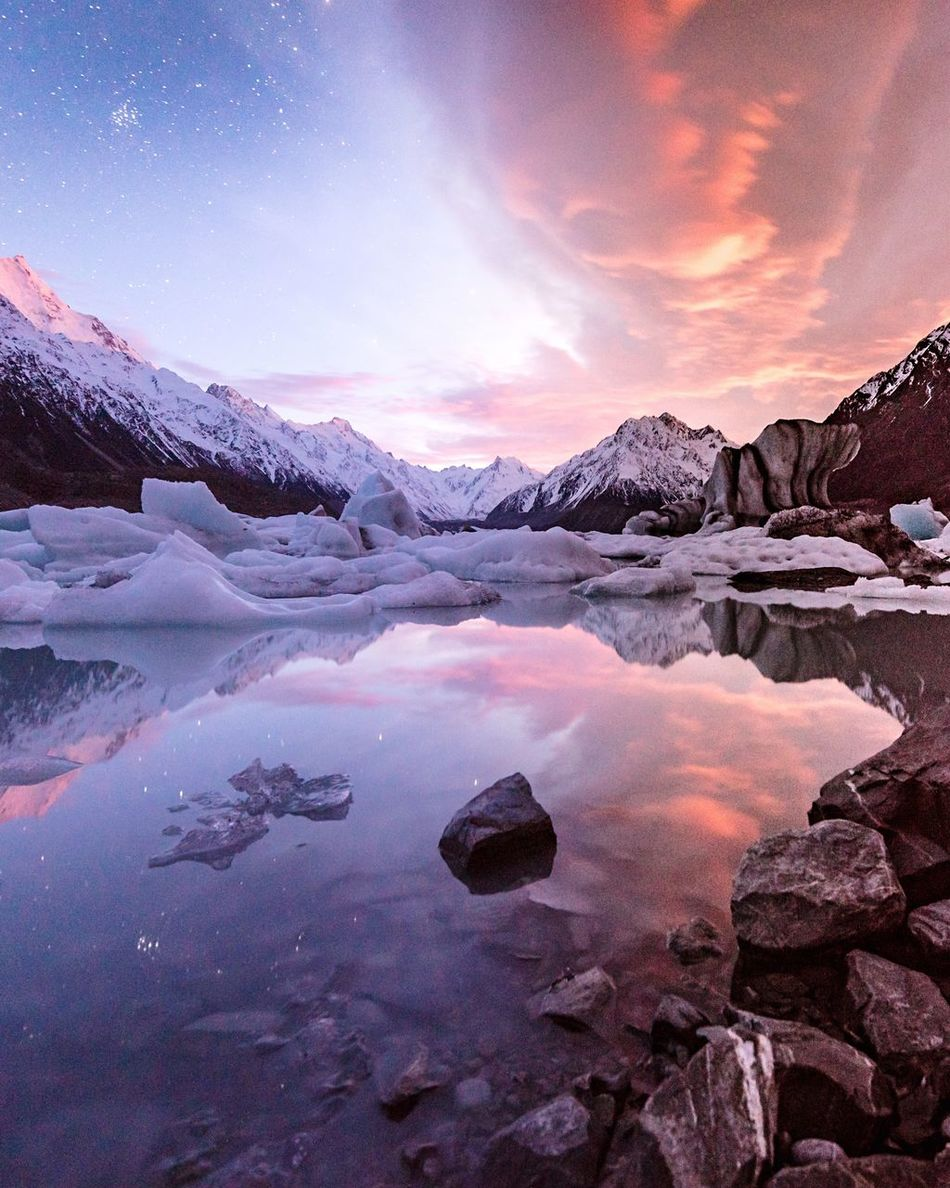 Possibly the most memorable sunrise of my South Island trip Beauty In Nature Cold Temperature Reflection Sky Mountain Ice Landscape Water Polar Climate Nature_collection Landscape_Collection Nature On Your Doorstep Ladyphotographerofthemonth For My Friends That Connect New Zealand Scenery Here Belongs To Me Tadaa Community EyeEm Masterclass Exceptional Photographs Check This Out Amazing_captures Outdoors Cloud - Sky EyeEm Best Shots - Sunsets + Sunrise Sky_collection