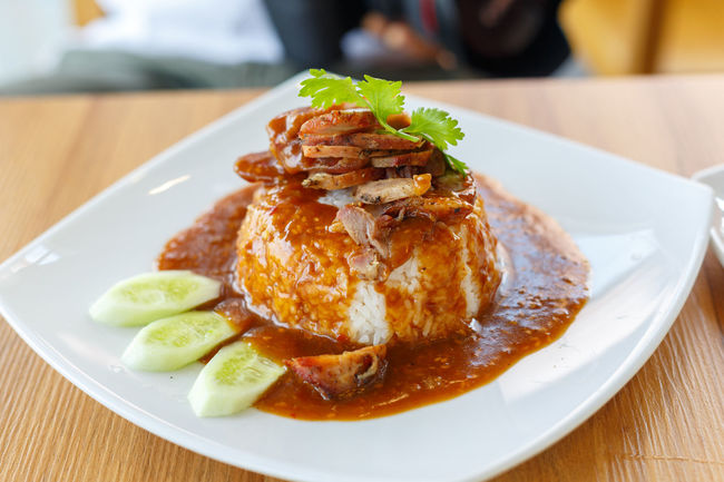 red pork in sauce with rice Asian  Chicken Meat Chicken Wing Close-up Dinner Eating Food Food And Drink Freshness Healthy Eating Indoors  Meal Meat No People Plate Pork Ready-to-eat Red Red Pork Rice Restaurant Rice Roast Chicken Serving Size Temptation Thai Food