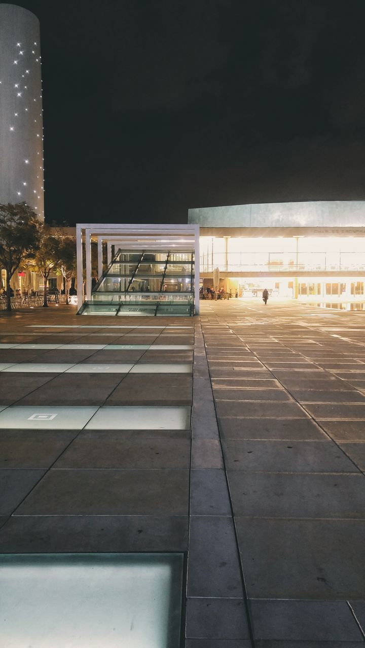 night, empty, architecture, built structure, illuminated, outdoors, no people, building exterior, sport, parking garage, sky