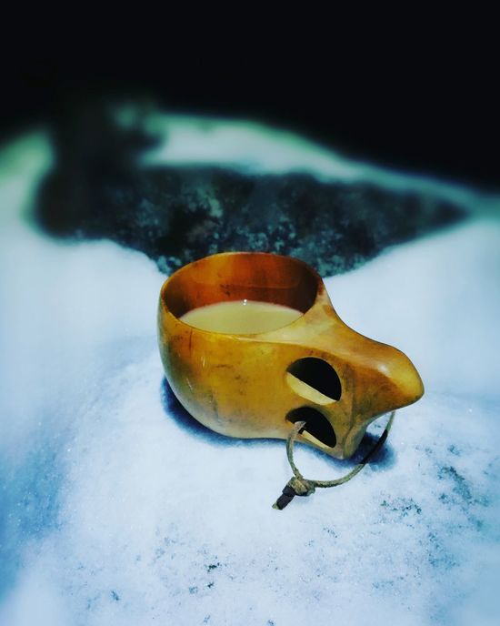 Close-up No People Outdoors In The Evening Silence Kuksa Wooden Mug Wooden Hand Made Snowy Scene In The Dark Cold Outside Wintertime Hot Drink Coffee Coffee Outside White Background Moody Nature