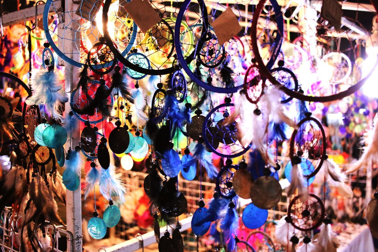 Dream catcher Multi Colored Hanging Full Frame No People Close-up Day Outdoors Dream Catcher Indain Style Amulet BELEIVE Night Market In Thailand Chaingmaithailand