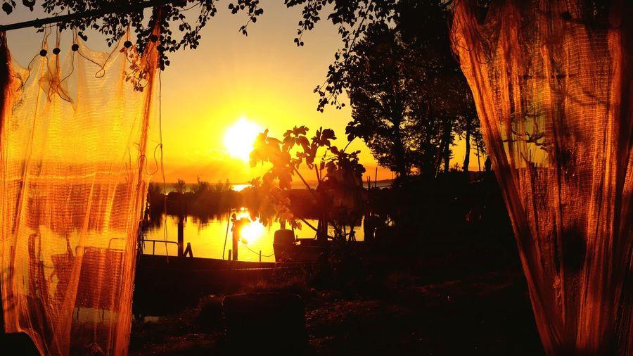 Sunset #sun #clouds #skylovers #sky #nature #beautifulinnature #naturalbeauty #photography #landscape Sunset_collection Sunset Silhouettes Sunset Show Boat Boats Fishing Village Fishing Net