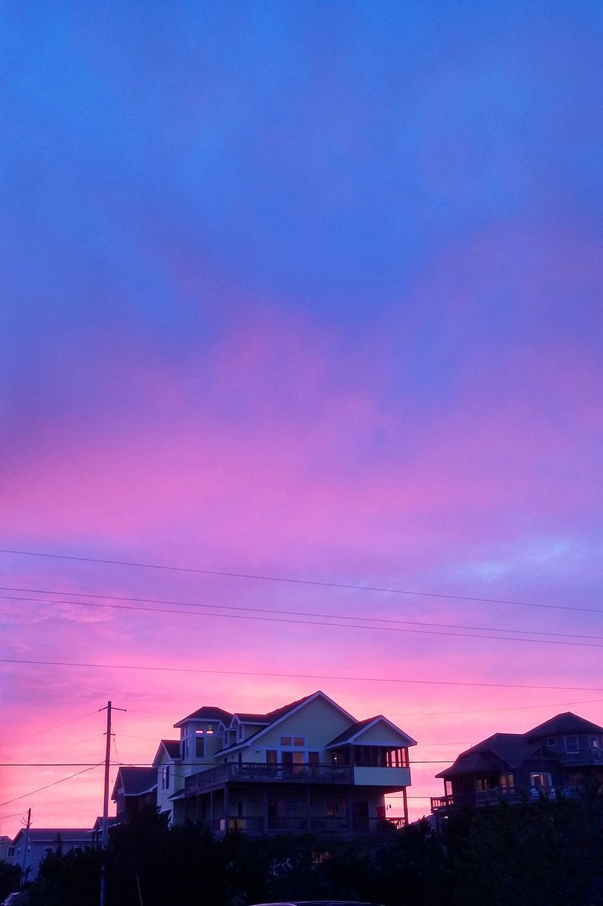 sunset, built structure, sky, architecture, building exterior, purple, outdoors, no people, nature, silhouette, cloud - sky, beauty in nature, scenics, day