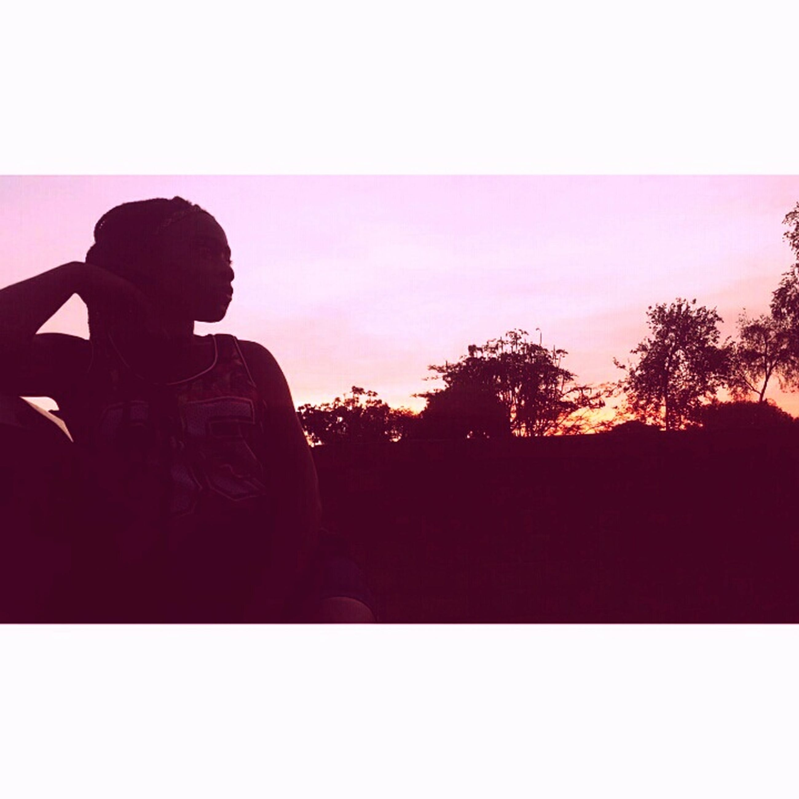 sunset, one person, silhouette, adults only, only women, one woman only, loneliness, people, adult, sitting, sky, clear sky, outdoors, young adult, day, human body part