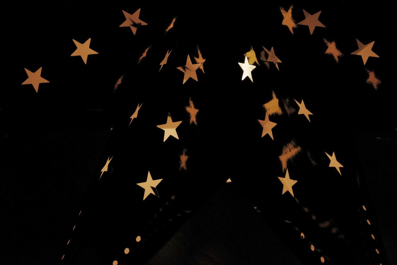 flag, star shape, patriotism, pride, pattern, no people, close-up, night, outdoors, stars and stripes