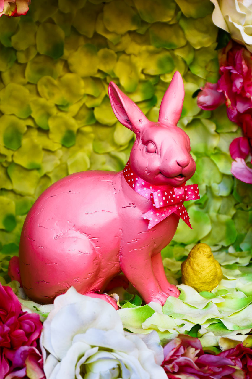 animal representation, easter, no people, pink color, freshness, close-up, flower, day, outdoors, food