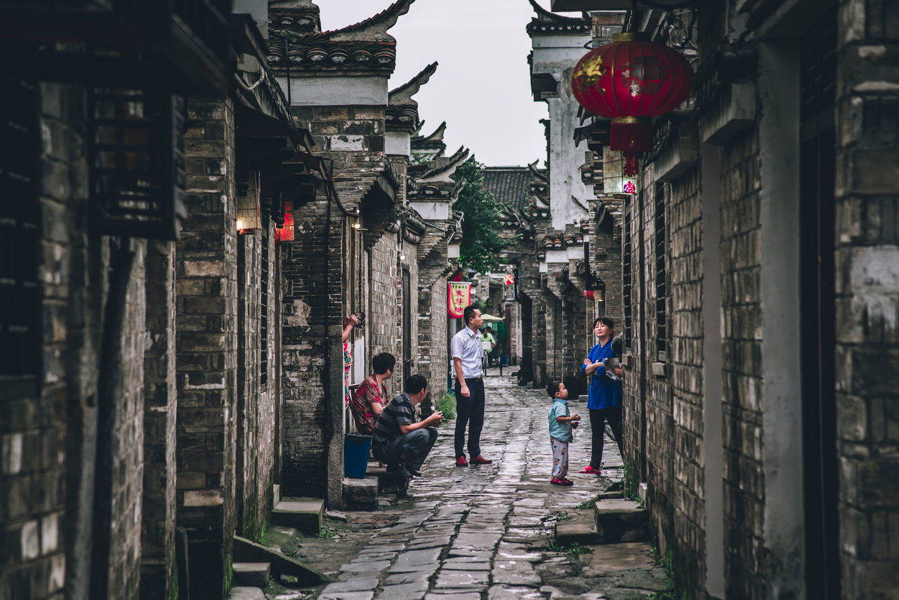 A living ancient town Alley Ancestors Anhui Architecture Built Structure Chinese Classic Culture Lane Lifestyles Old Outdoors Residence Sanhe Town Village