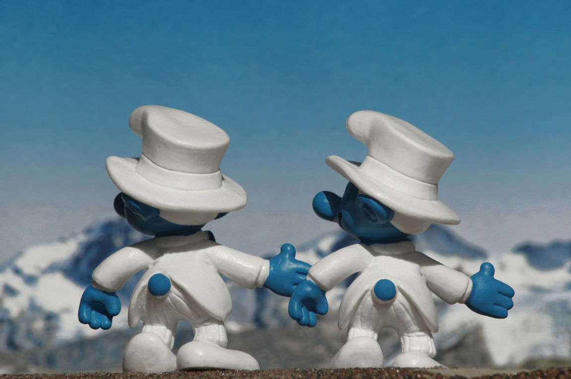 two wedding smurfs holding hands ©alexander h. schulz Blue Close-up Equality From Behind Fun Gay Gay Marriage  Gay Rights Germany Hats Homosexual Couple Humor Love Low Angle View Marriage  Mountains Pride Schlumpf Sky Smurfs Wedding White White Wedding