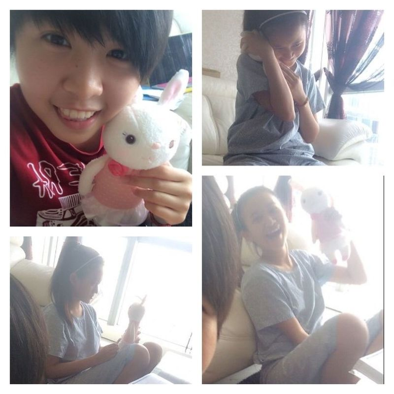 """This is the bear which @tiffanyhaw called """"ya ya"""" and she would rather talk to this rabit (her baby) than to me!! She was talking to this rabit when i was at her houseee!! Im sry to post this Su Su Kyi😂😂 Tb Studydate ❤❤❤"""