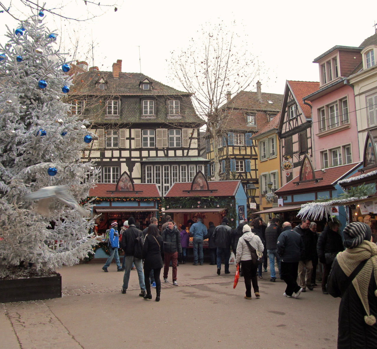 Christmas Decorations Christmas Lights Christmas Market Colmar Colmar, Alsace, France Day Market Outdoors People People Shopping Shopping Time Timber Framed Houses Town