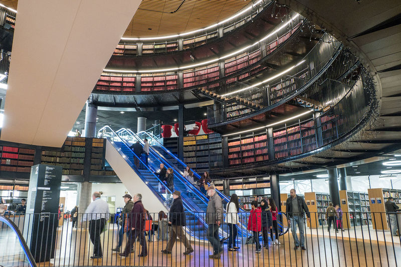 Architectural Feature Architecture Birmingham Library Books Built Structure Capital Cities  City City Life Coming And Going Culture Cultures Day Escalators Famous Place Illuminated Leisure Activity Library Lifestyles Modern People Travel Destinations