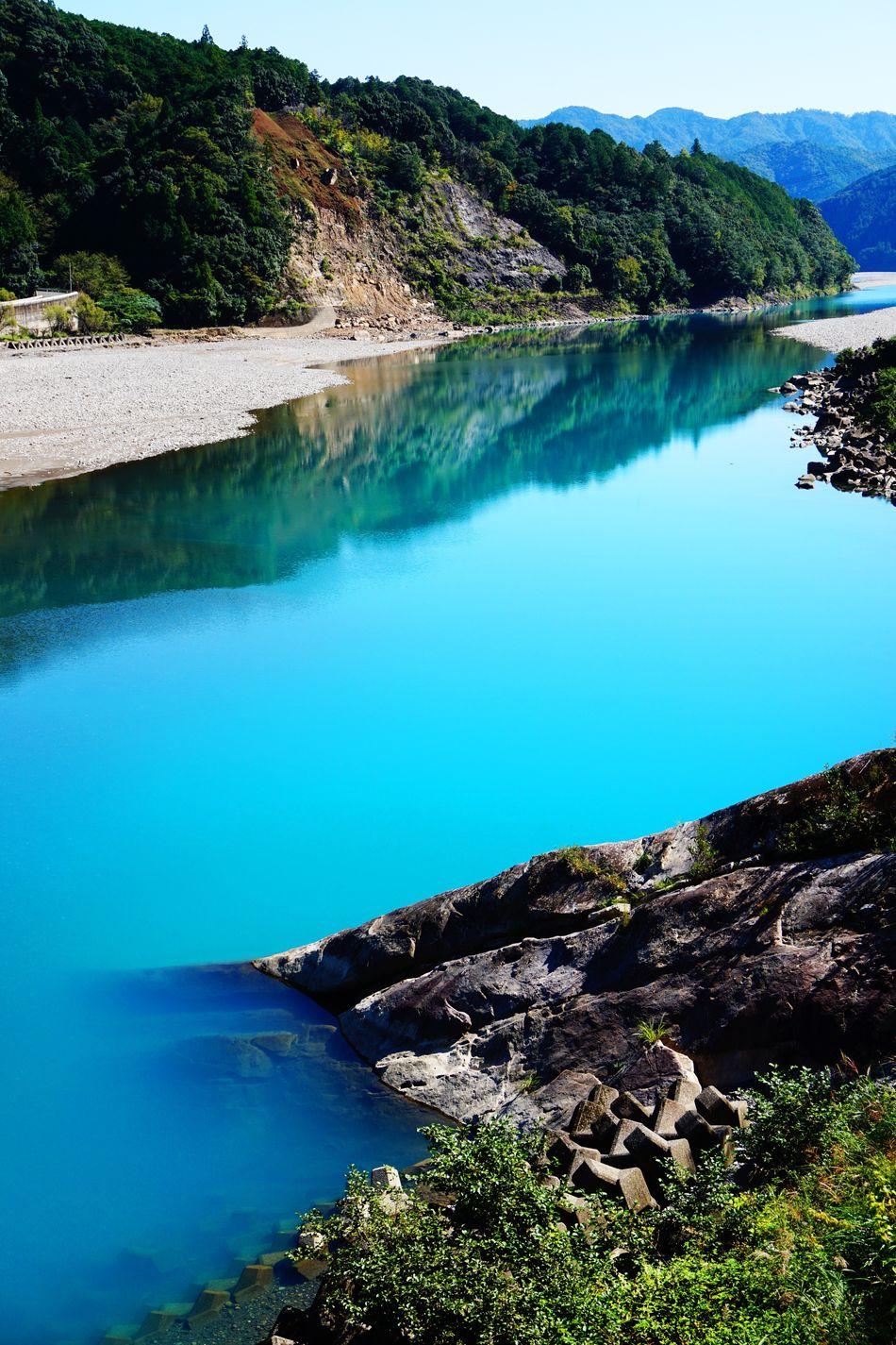 2015  Beauty In Nature Blue Water Bule River Coal Japan Kumano River Landscape Mountain Nature Outdoors River Scenics Sky Tree Wakayama Water World Heritage 川 温泉 熊野川
