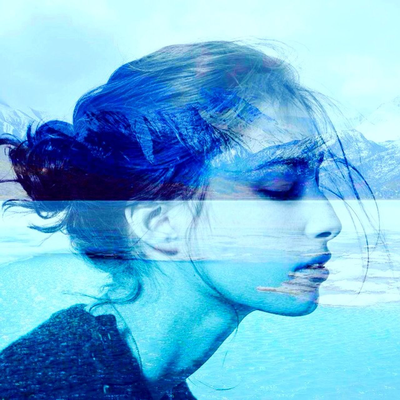 #girl #ocean Blue Double Exposure Girl Mountains Ocean Photo Water Woman