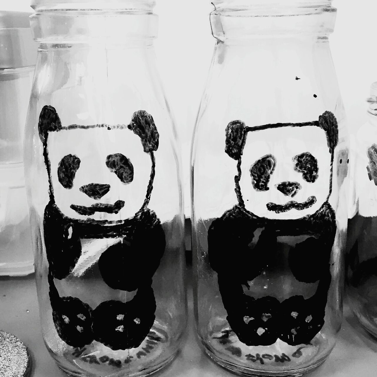 Panda Milkbottles Art Handmade Drawnbymouth Blackandwhite Pandamilkbottles Check This Out Art Fromablankcanvas Smallbusiness
