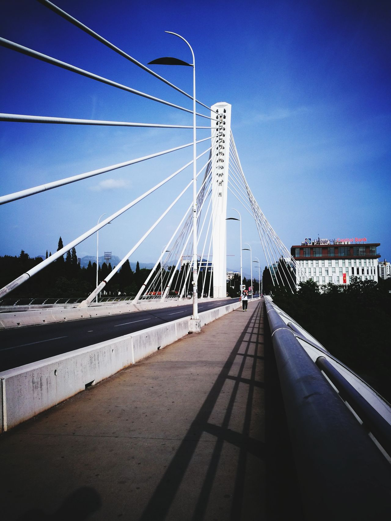 Bridge - Man Made Structure Connection Suspension Bridge Architecture Sky Outdoors Road Travel Destinations Day Built Structure Transportation City No People Curve Landscape Cityscape Water EyEmNewHere Podgorica Montenegro Podgorica, Montenegro Cityscape Low Angle View Sunset The Architect - 2017 EyeEm Awards