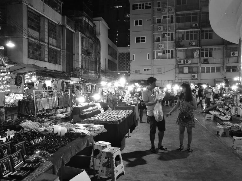Night Market Bangkok Thailand. Pratunam Monochrone City Nightlife Crowd Night First Eyeem Photo The Street Photographer - 2017 EyeEm Awards