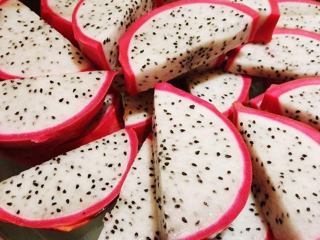 Fruit Healthy Eating Close-up Freshness Dragon Fruit Sliced Fruit