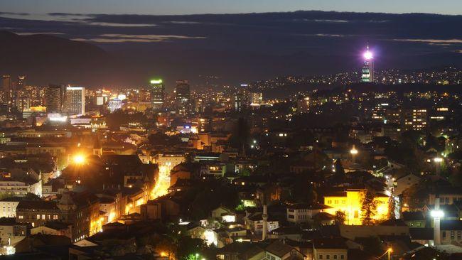 Cities At Night - Sarajevo where religions are all respected.. Religion Sarajevo Nightphotography Night Lights Night Photography Night View