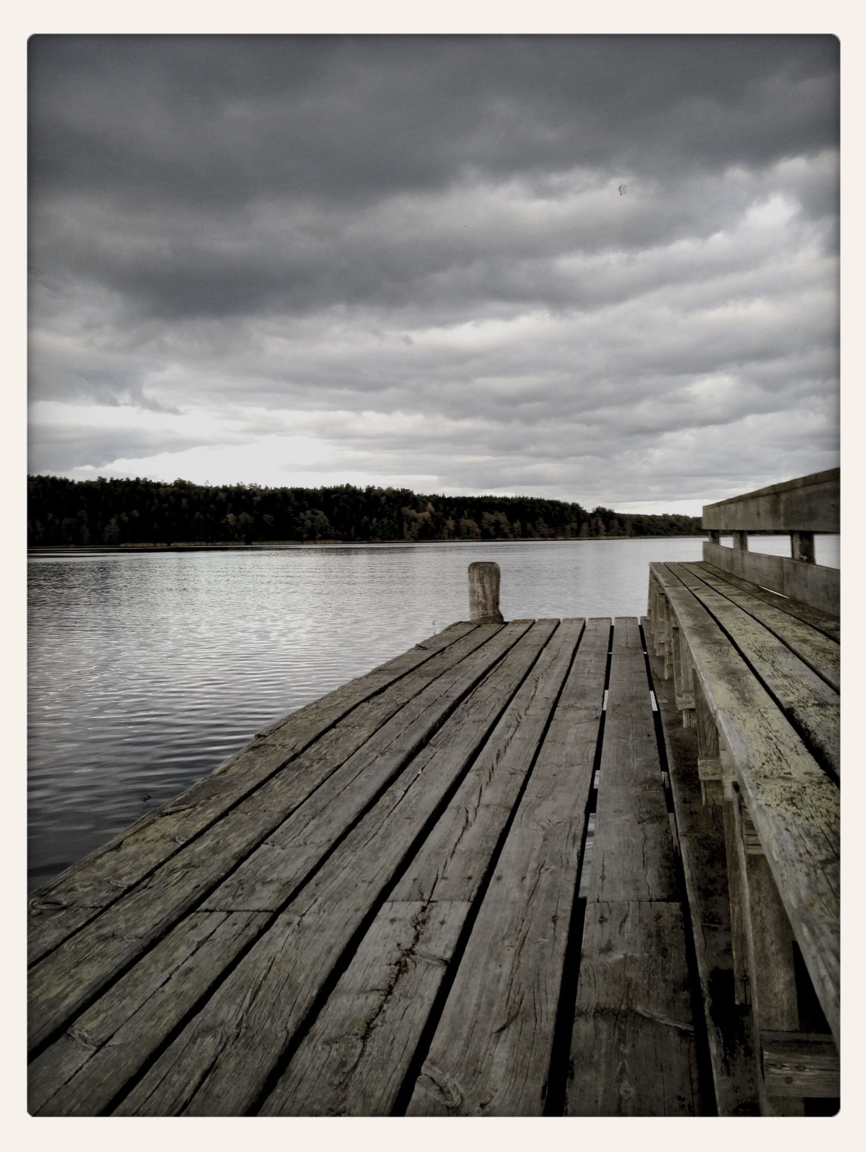 the way forward, sky, water, pier, cloud - sky, wood - material, transfer print, diminishing perspective, tranquil scene, tranquility, railing, boardwalk, lake, auto post production filter, cloudy, cloud, jetty, vanishing point, nature, wood