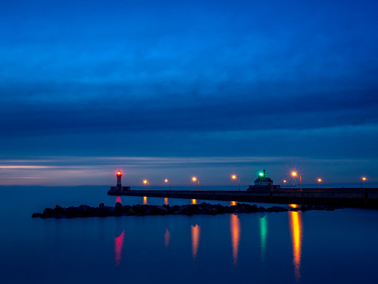 Architecture Beauty In Nature Blurred Blurred Background Bridge - Man Made Structure Building Exterior Built Structure City Connection Early Morning Illuminated Lighthouse Long Exposure Nature Night No People Outdoors Scenics Sea Sky Sunrise Transportation Travel Destinations Water Waterfront