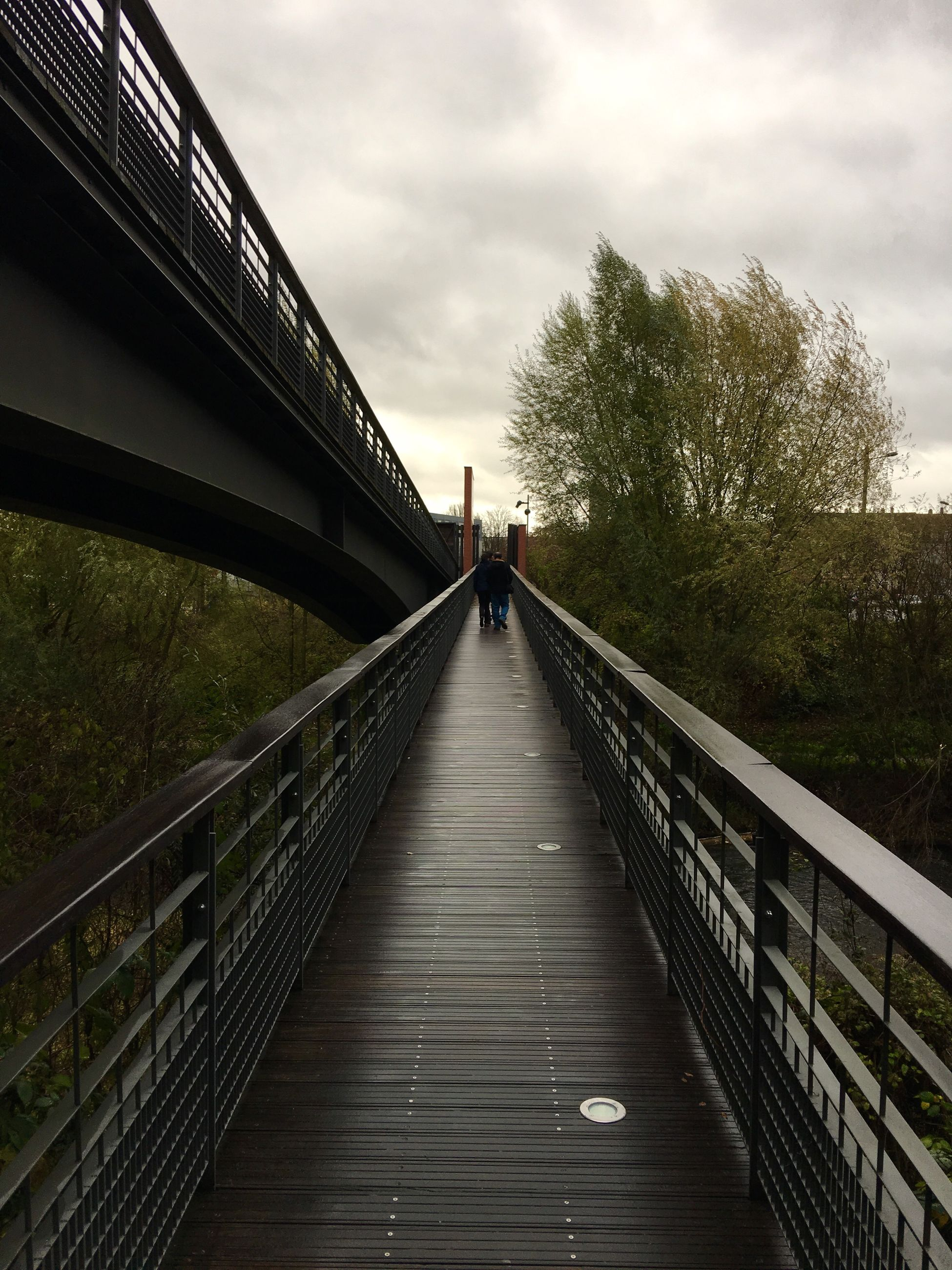 the way forward, railing, built structure, tree, full length, walking, architecture, leisure activity, outdoors, men, sky, women, cloud - sky, real people, footbridge, day, bridge - man made structure, nature, people, adults only, adult