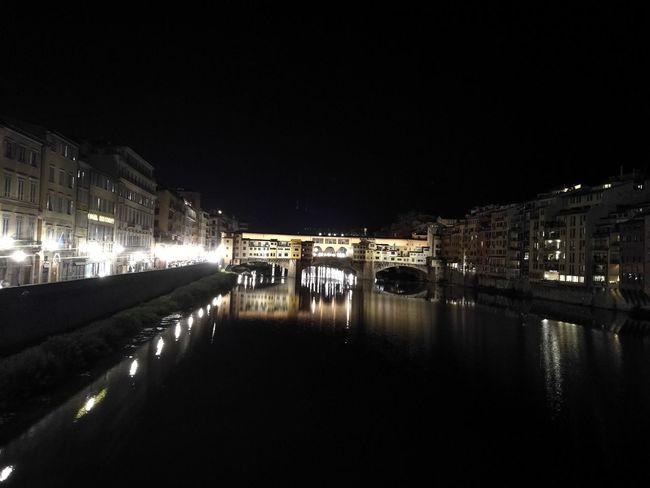 Architecture Building Exterior Built Structure City Florence By Night Florence Italy Ponte Vecchio - Firenze Sky