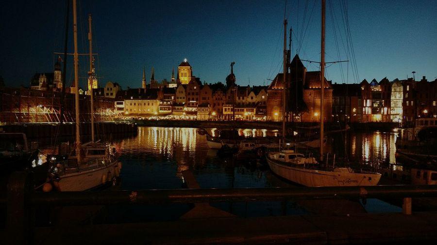 Gdańsk. Night Water Motława Night City River Live For The Story