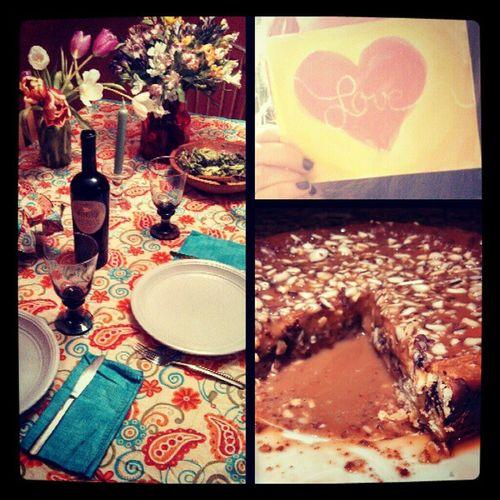 Valentines day with the bestie = success Bomblasagna Salad Merlot Fudgefilled caramelwhitechocolatecheesecake watercolor gettingcrafty bestfriend Julievp