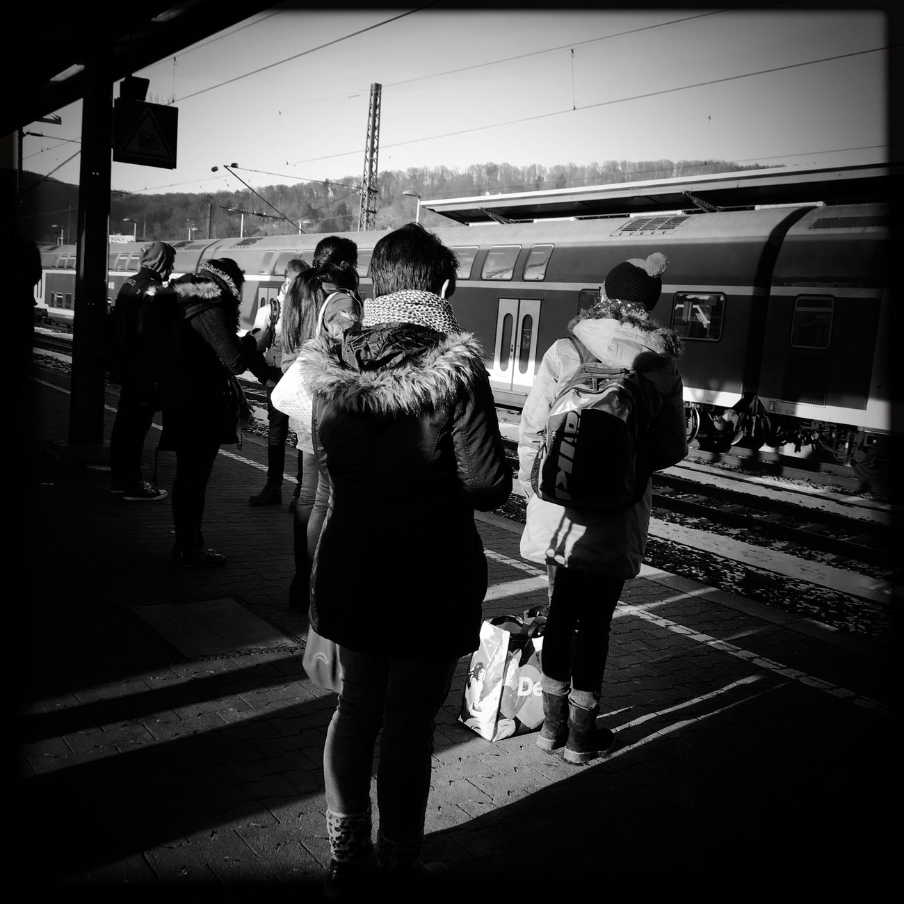 Transportation Public Transportation Railroad Station Platform Women Greyscale Streetphotography Blackandwhite Urbanclothes Urbanliving Documentary IPhoneography Mobilephotography Contrast Urban Daylight High Angle View People Sunlight Hardlight Lightandshadow