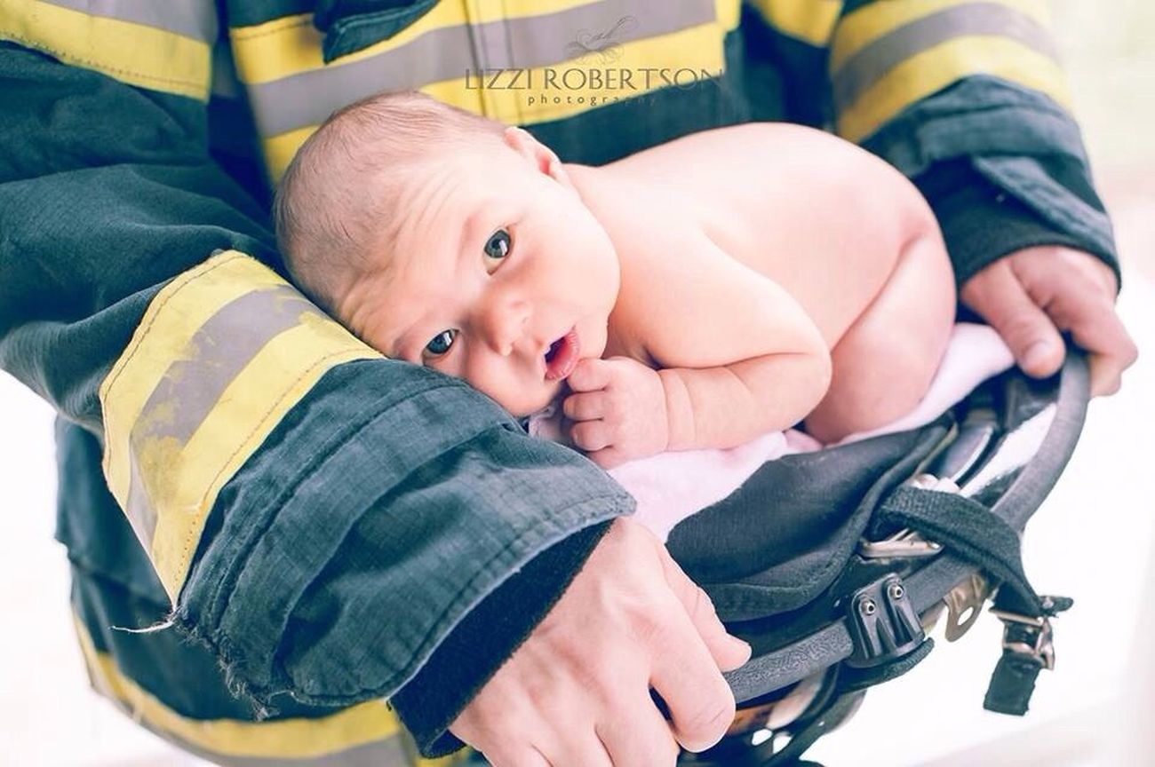 Daddy's little girl. Newborn Father And Daughter Lizzirobertsonphotography Firefighter