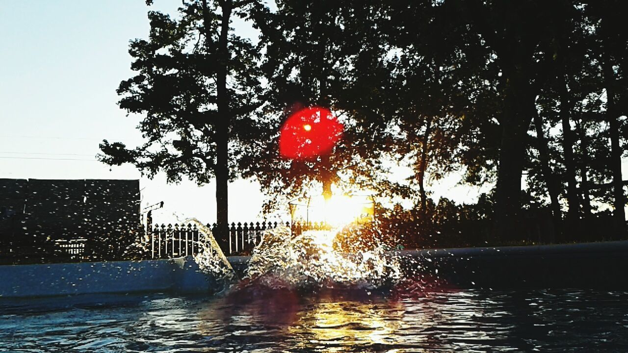 tree, water, red, outdoors, no people, building exterior, built structure, architecture, swimming pool, day, sky, nature, city