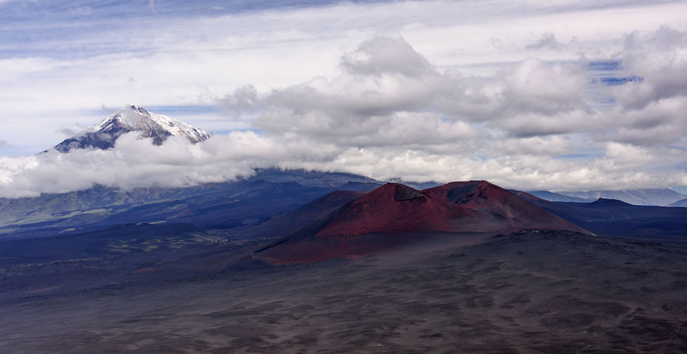 Panorama with snow-capped volcano Beauty In Nature Cloud - Sky Day Far East Kamchatka Landscape Mountain Nature No People Outdoors Physical Geography Russia Scenics Sky Snow Travel Destinations