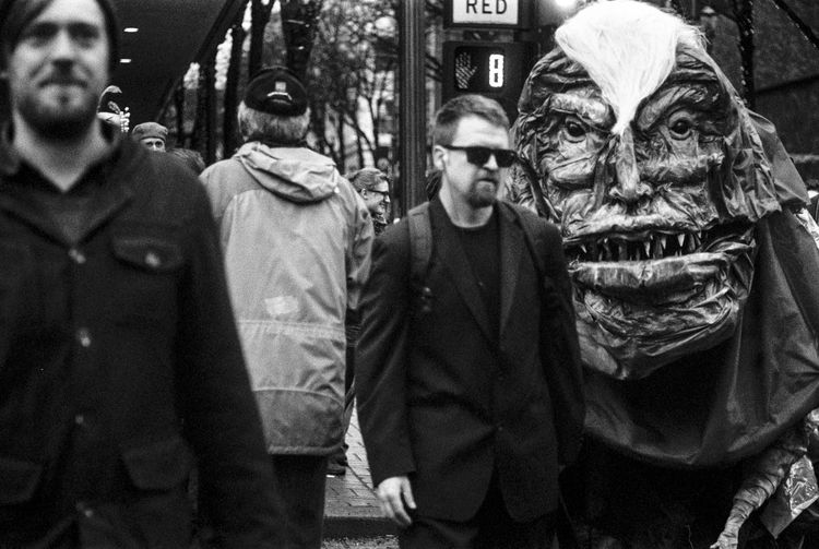 All are welcomed in Portland Black And White Day Film Photography Front View Leica Mascot Men Mythical Outdoors Protest Protestor Puppet Real People The Street Photographer - 2017 EyeEm Awards