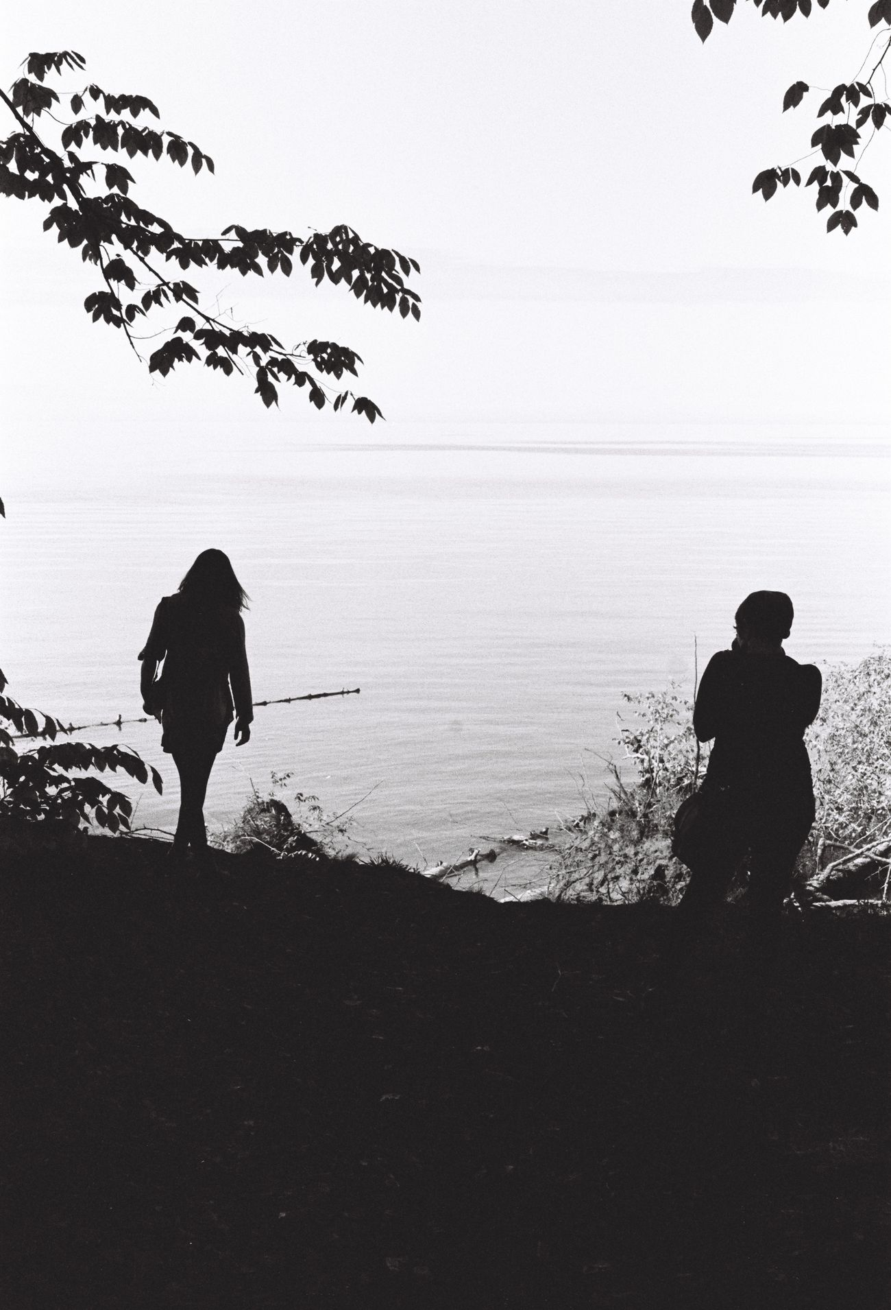 By the lakefront. Full Length Horizon Over Water Kodak Kodak Tri-X 400 Lake Ontario Lifestyles Nature New York State Outdoors Real People Rear View Rochester, NY Scenics Sea Silhouette Sky Standing Togetherness Tranquil Scene Tranquility Tree Two People Vacations Water