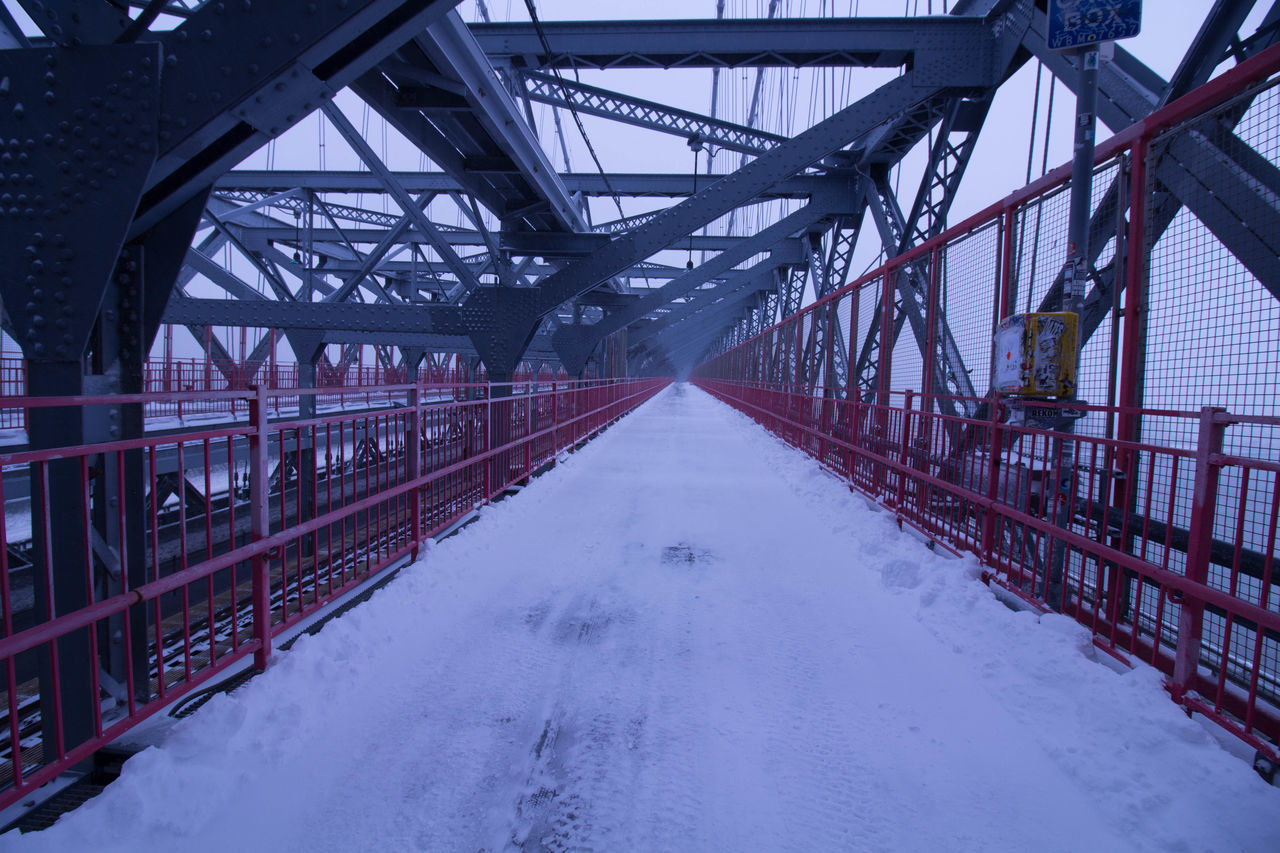 bridge - man made structure, connection, metal, transportation, built structure, architecture, no people, bridge, day, outdoors, winter, cold temperature, girder, nature, sky