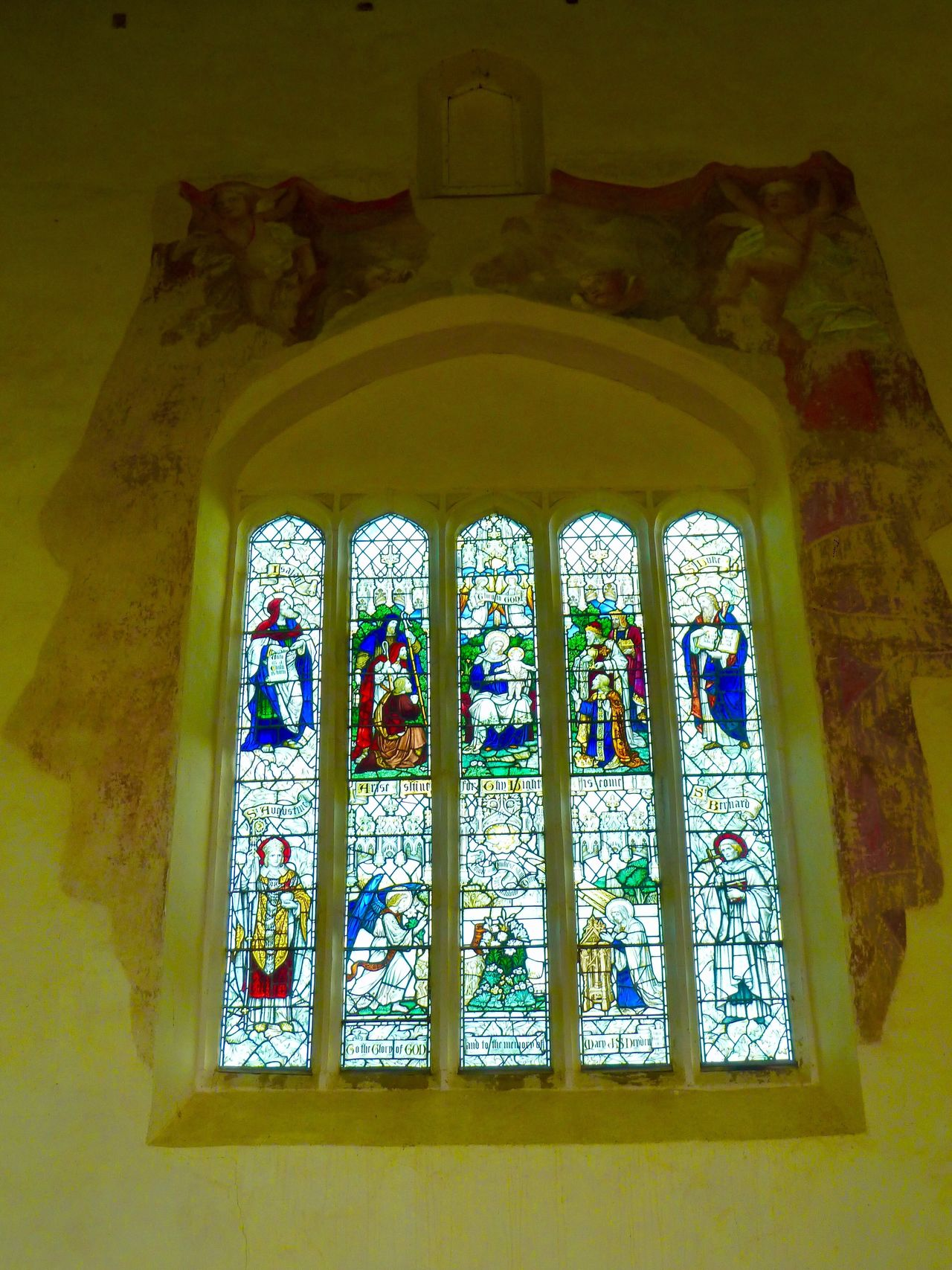 Priors Ashby Church Stained Glass Window Window Multi Colored Stained Glass Indoors  Low Angle View No People Religion Day Spirituality Place Of Worship Architecture