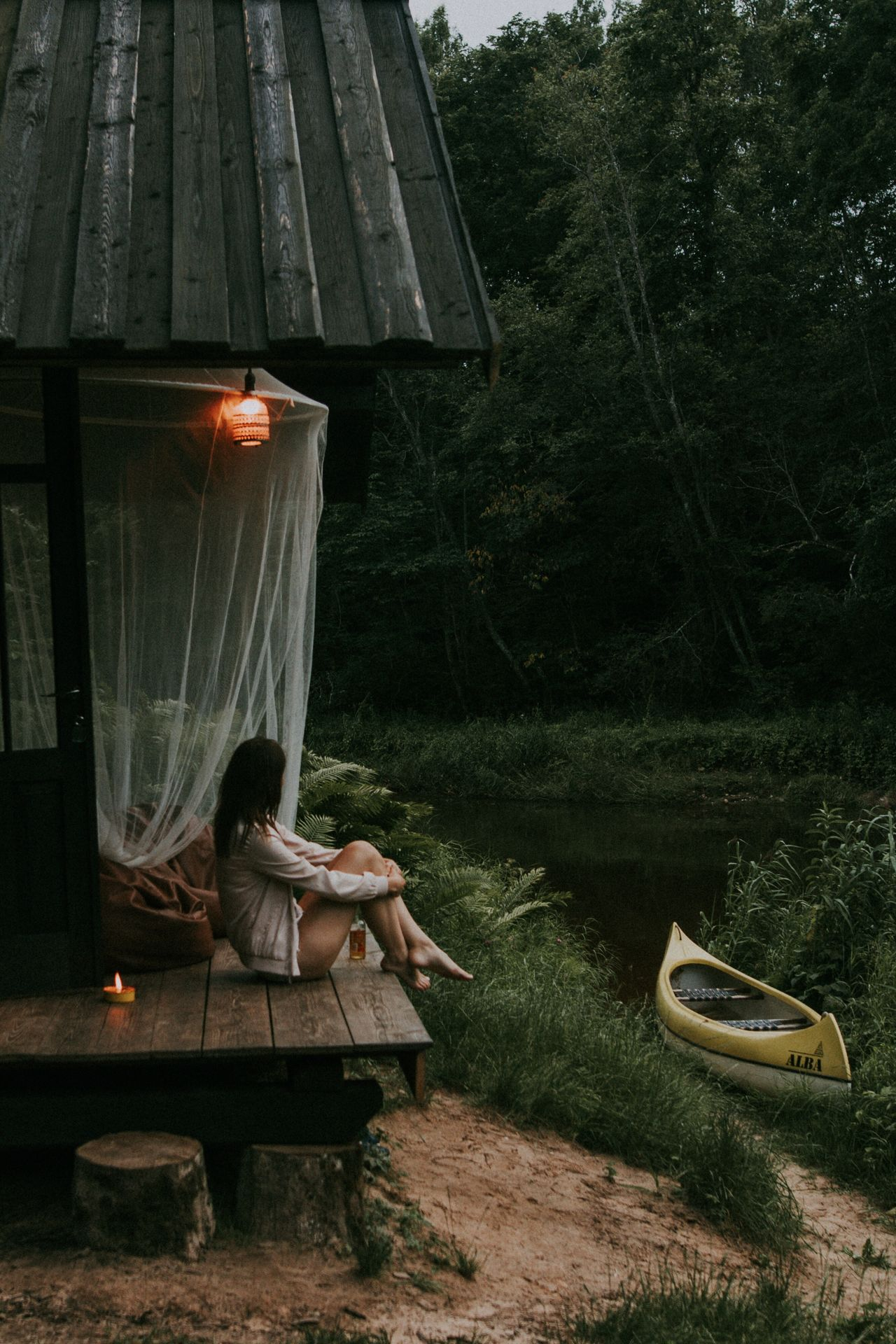 full length Sitting one person Tree outdoors real people day young women young adult Nature people EyeEm Selects cabin cabin in the woods river Riverside woods beauty in Nature Latvia Nature Breathing Space Breathing Space The Week on EyeEm