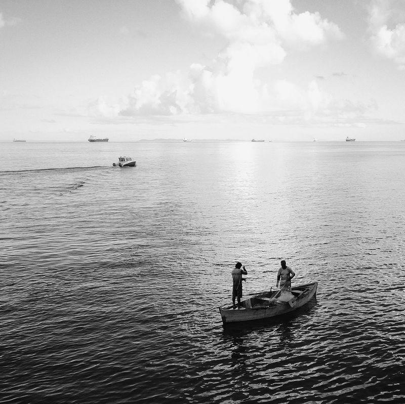 Water Transportation Sea Outdoors Cloud - Sky Day Nature Men Two People Scenics Sailing Working Occupation Navigator  Salvador Bahia Fishing Boat