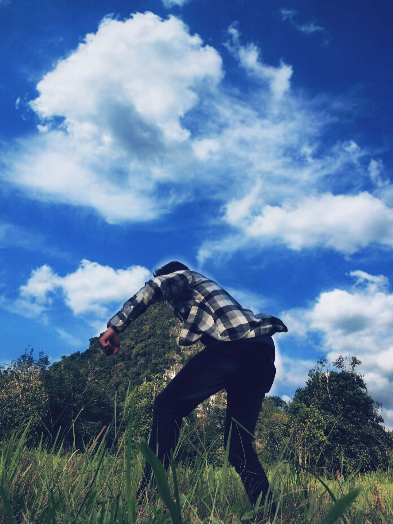 Cloud - Sky Sky Outdoors People Camouflage Clothing Nature Low Angle View Extinct Landscape_Collection Landscape Beauty In Nature