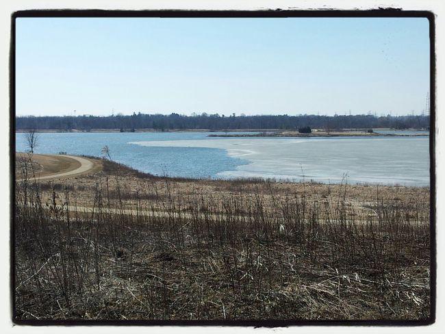Partially frozen lake.