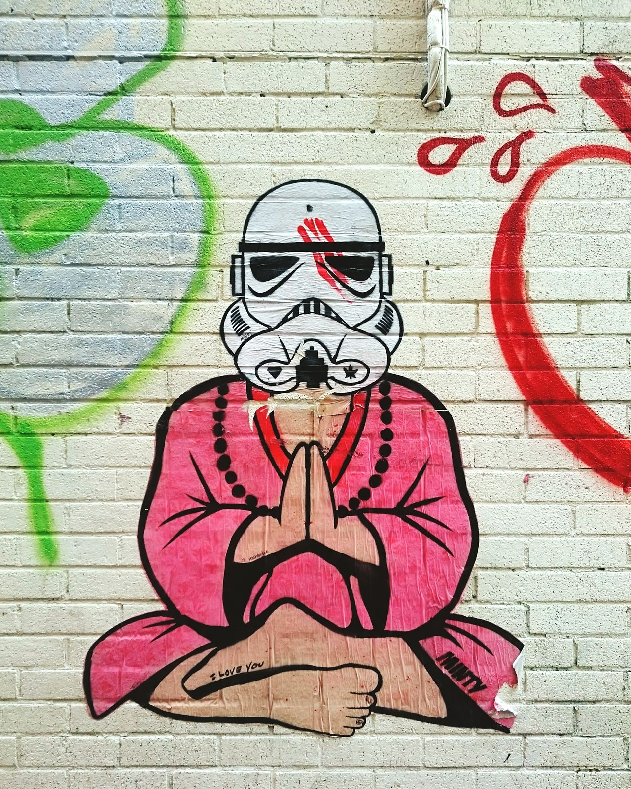 Art Creativity Street Art Graffiti Mural Lines, Shapes And Curves Textures And Surfaces Urbanphotography Streetphotography Amusement  Brighton Wheatpaste Stencil Art Multi Colored Spraypaint Freshness Wall - Building Feature Graphic Urban Landscape Brighton Starwars Stormtrooper Buddha