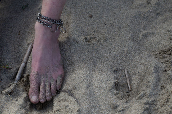 Ankle Bracelet Casual Man's Foot Nature On The Beach One Foot In The Sand SlenderMan Unrecognizable Person