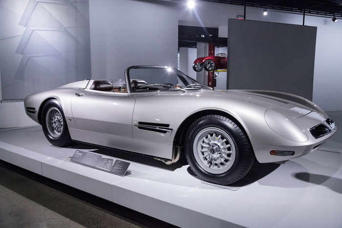 Los Angeles, CA, USA - March 4, 2017: Silver 1966 Bizzarrini 5300 Spyder SI Prototype at the Petersen Automotive Museum in Los Angeles, California, United States. Editorial only. 1966 5300 Antique Car Bizzarrini Car Classic Car Fast Car Indoors  No People Old Car Petersen Automotive Museum Si Sports Car Spyder