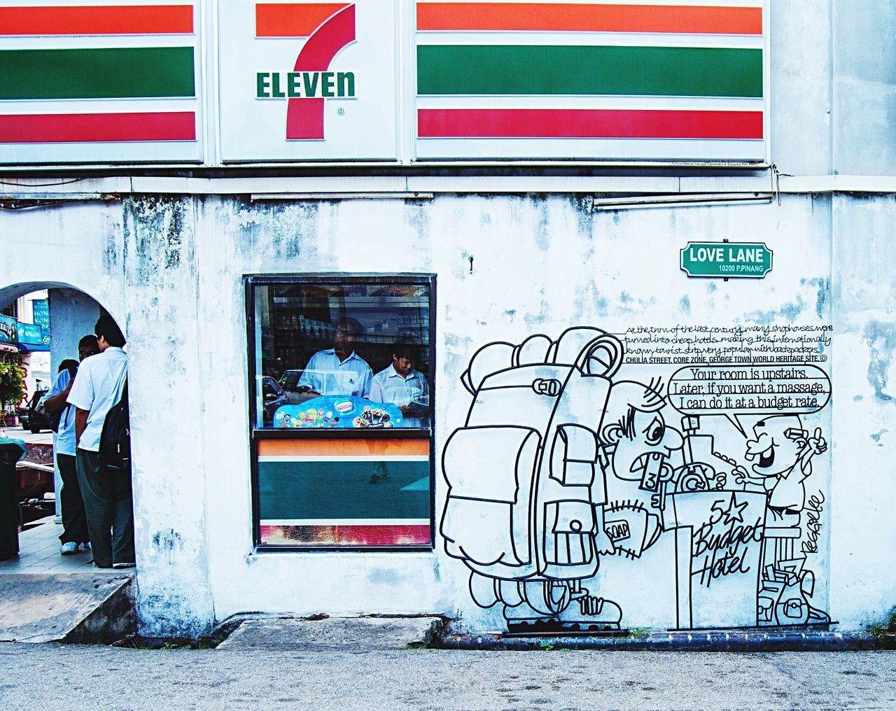 Georgetown Graffiti Street Art Building Exterior Authentic Streetart Contemporary Culture Art Love Lane Penang World Heritage Site Hostel Backpacker Funny Malaysia Travel Southeastasia Asian  7-11