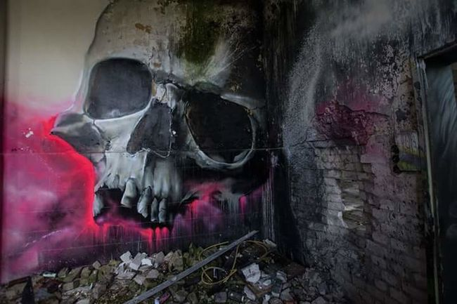 Old Building  Graffiti Art Beauty Of Decay Marodes Lostintime NIKON D5300 Lostplaces Destroyed Urbanexploration Abandoned Places From My Point Of View Skull