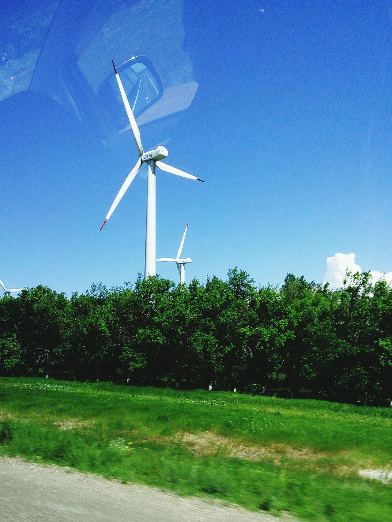 Wind Turbine Alternative Energy Wind Power Sky Day No People Clear Sky Outdoors Blue Cloud - Sky Almaty, Kazakhstan Green Color