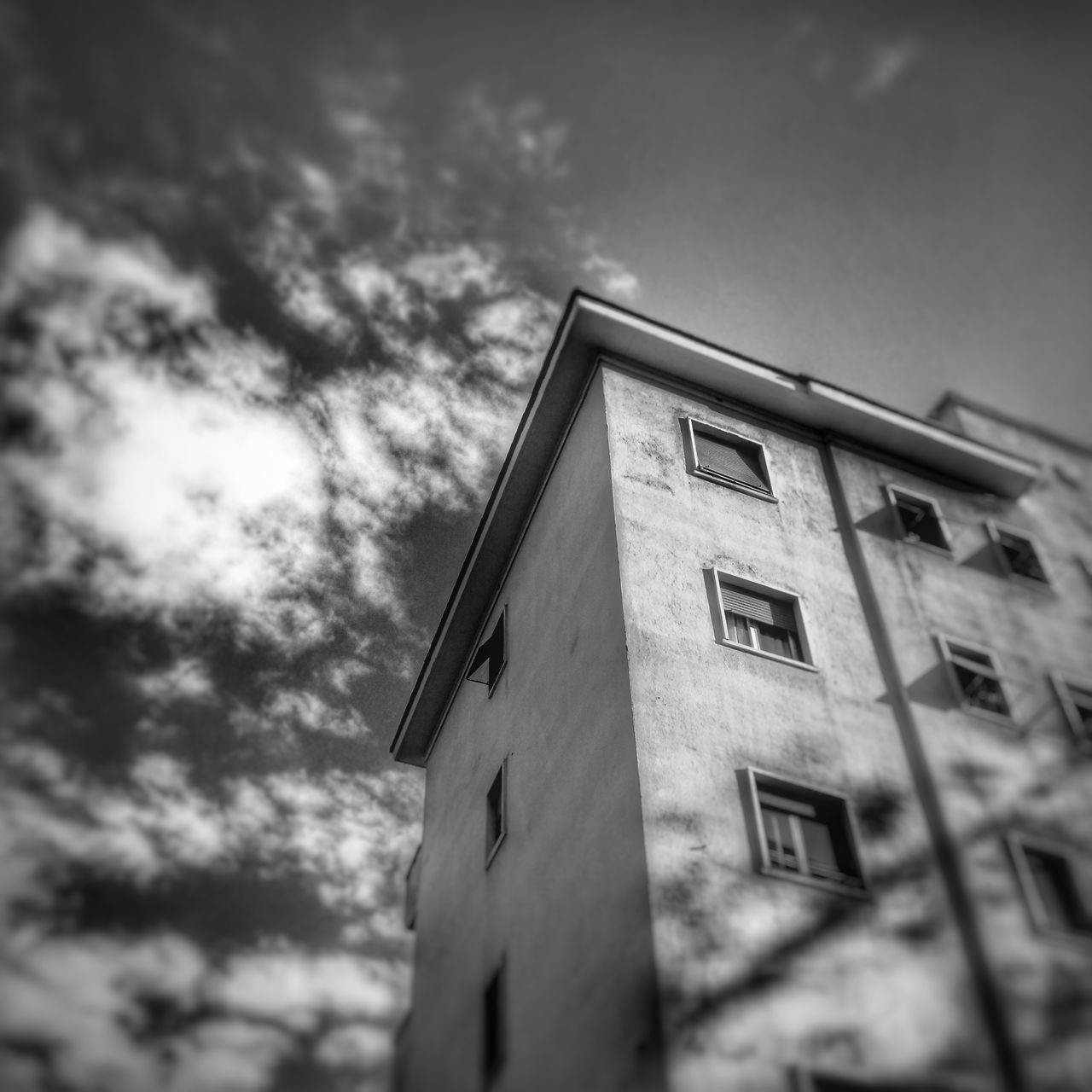 Cloud - Sky Low Angle View Sky Built Structure No People Day Architecture Building Exterior Outdoors Tilt Shift Blackandwhite Blackandwhite Photography Black & White Black And White