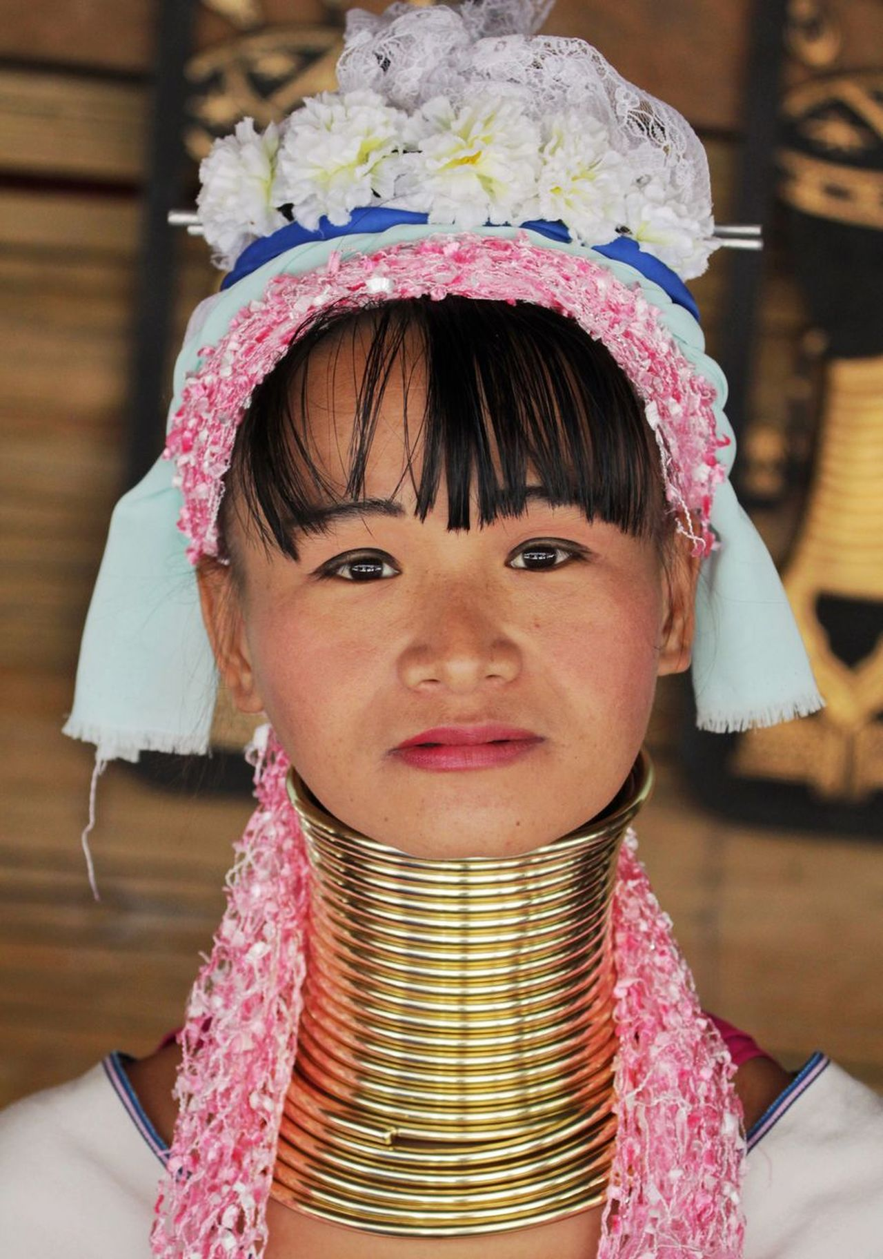 Portrait Real People Beauty One Person Headwear Headshot Neck Necklace Long Neck  Ring Rings Gold Tribal Tribe EyeEm Best Shots Check This Out Close-up Happiness Traditional Clothing Smiling Outdoors Women Around The World Day People in Thailand MISSIONS: The Portraitist - 2017 EyeEm Awards